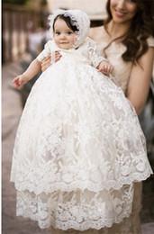 2019 robes de première communion blanc dentelle ivoire demi-manches col haut fête d'anniversaire de fête fleur petite fille Toddler robe de reconstitution historique avec chapeau ? partir de fabricateur
