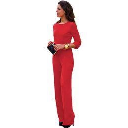 Wholesale Sexy Red Elegant Jumpsuit - Wholesale-2016 Sexy Backless Combinaison Femme Plus Size Bodycon Temperament Elegant Jumpsuit Bodysuit Overalls for Women's Clothing