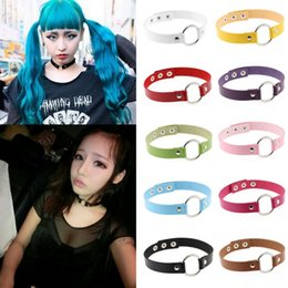 Wholesale Goth Silver Ring - Womens Girls Punk Goth PU Leather Rivet Circle Ring Collar Choker Funky Necklace Fashion Jewelry
