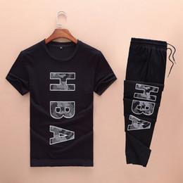Wholesale Hba Mens Clothing - Men 073 HBA T-shirts+Pants,Mens Fashion Suits,100% Cotton T-shirts,Men Pants,Men Short Sleeves Shirts,Men Tops,Men Clothing,Size M-2XL