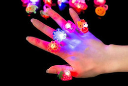 wholesale toys free shipping Coupons - LED Lighted Toys Glowing Finger Ring Cartoon Change Color LED Light Small Ring Party Concert Toys Decorations Gifts Free Shipping