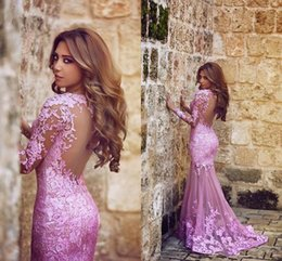 Wholesale Blue Plum Coral - Hot Said Mhamad Mermaid Tulle Appliques Lace Plum Evening Dresses Sweep Train Long Sleeve Formal Party Sheer illusion Back Arabic Prom Gown
