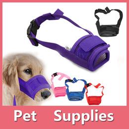 Wholesale Mouth Dogs - 5 Colors Adjustable Nylon Dog Muzzle Pet Puppy Mesh Mouth Mask Anti Biting Barking S-XL Sizes
