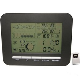 Wholesale Digital Humidity Clock - Digital Barometer Weather Station Table Dual Alarm Clock w  Indoor Thermometer Hygrometer Wireless Outdoor Temperature Humidity Transmitter
