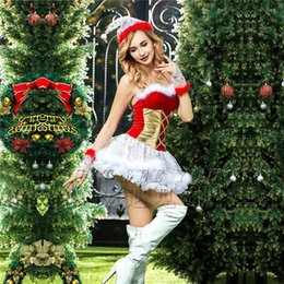 Wholesale Free Role Playing - 2017 New European And American Christmas Dress Sexy Role Play Christmas Dress, Including Hats, Dresses, Gloves, Thong Pants