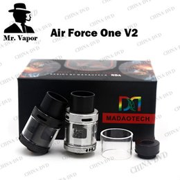 Wholesale Air Bears - Authentic Air Force One V2.0 RDA Atomizers Vaporizer Rebuildable Airflow Control PEEK Insulators Wide Bore Drip Tips Fit 510 Vape Box Mods