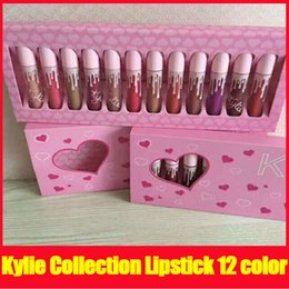 Wholesale Cosmetics Lips - Kylie I WANT IT ALL Lipstick Kit Kylie Jenner Lip Gloss liquid lipstick Set 12 Color Lip gloss By Kylie Cosmetics
