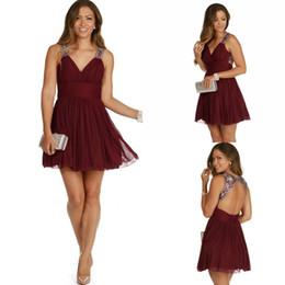 Wholesale Dresses Grade Graduation - Custom Made Cheap Burgundy Chiffon Short Homecoming Dresses 2016 Beaded Crystal Straps Sexy Open Back 8th Grade Graduation Prom Party Dress