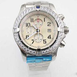 Wholesale Digital Watc - Men Luxury Brand Fine Quality White Dial Watch Stainless Steel Belt Siliver Skeleton Men's Watc Auto Date Quartz Chronograph Watches
