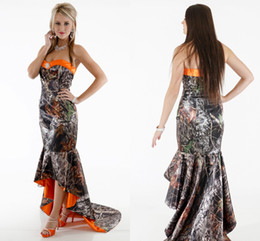 Wholesale Prom Camouflage Dresses - Orange Camo Mermaid Prom Dresses Sweetheart Elastic Satin Tea Length High Low Camouflage Party Dress Country Evening Gowns Sweep Train