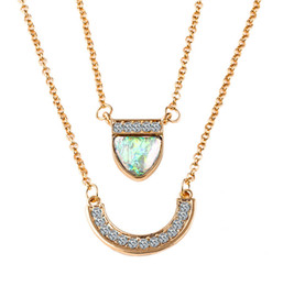 Wholesale Wholesale Fantasy Jewelry - 2017 summer New necklace fantasy stone hearts boat-shaped jewelry double necklace European and American style explosion