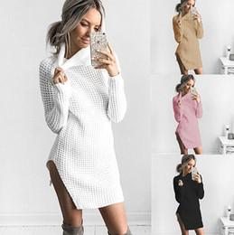 Wholesale Warm Women Sweaters - Women Autumn Long Sweatshirts Turtleneck Cross Split Style Warm Sweaters Pullovers Tops Clothing