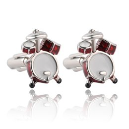 Wholesale Guitar Accessories - Personality Men Jewelry Music Lover Drum Guitar Cufflinks For Men Shirt Accessory Fashion Metal Music Design Cuff Links 0903809-4