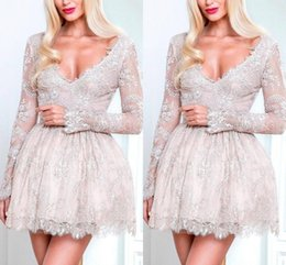 Wholesale Junior Long Sleeve Cocktail Dresses - Lace Short Junior Homecoming Dresses Long Sleeves Deep V-neck Mini Cocktail Party Gowns Custom Made Prom Celebrity Dress 2017