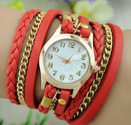 2019 correa de cuero larga relojes mujeres Diseño simple Color Dial moda Mujer Relojes Cuero Pulsera Reloj de cuarzo Ladies Multicolor Long Straps Dress Relojes de pulsera correa de cuero larga relojes mujeres baratos