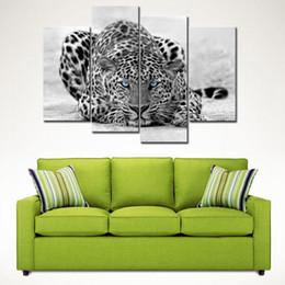 pittura a muro di leopardo Sconti 4 Picture Canvas Painting Bianco e nero Wall Art Painting Blue Eyed Leopard Stampa su tela L'immagine per la decorazione domestica senza cornice