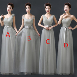 Wholesale Prom Dresses Mint Color - 2017 Vintage Tulle Bridesmaid Dresses Lace Crop Top Ruched Floor Length Blush Mint Grey Burgundy Prom Party Gowns Custom Made