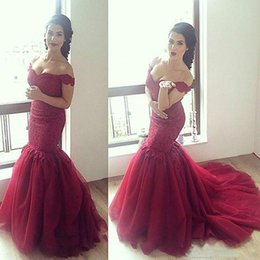 Wholesale inspired bridal - Custom Made Cheap Stunning Mermaid Prom Dress Lace Appliques High Quality Burgundy Off The Shoulder Bridal Gown Plus Size