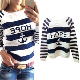 Wholesale Anchor Pullover - Women Lovely Hoodies Hot Anchors Striped Causal Tracksuit Blue White Patchwork Sweatshirts Ladies Pullover Free Shipping
