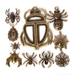 Wholesale Vintage Web - Free shipping New 31pcs lot Zinc Alloy Antique Bronze Plated Spider Web Charms Vintage Tibetan Pendants DIY Bracelet Necklace jewelry makin