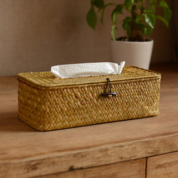 Wholesale Wicker Boxes - Wholesale- Sea straw creative the cane makes up the sitting room the bathroom box tube napkin paper towel sets of cartons Wicker Crafts