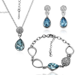 Wholesale Women Nickel Free Necklaces - Romantic Drop Earrings and Pendant Necklace Bracelet Jewelry Sets Nickel and lead free mixed Fashion popular For Party Women Gift 4