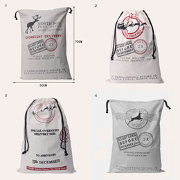 Wholesale Candy Gift Animal - DHL Christmas Decorations Drawstring Bag Large Canvas For Santa Claus Sack Bags Monogrammable Reindeers Xmas Candy Gift Bag 50*70CM