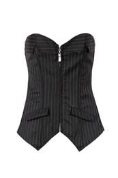 Wholesale Office Women Suit Sexy - 2015 new Sexy Black Pinstripe Corset Skirt Office women Lace up Bustier Suit Costume lady slim set