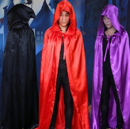 Wholesale Adult Halloween Capes - Sorcerer Death Cloak Cape Halloween Costume Death Hoody Cloak Kids Adults Death Cosplay Costume Devil Mantle Hooded Cape OOA3056