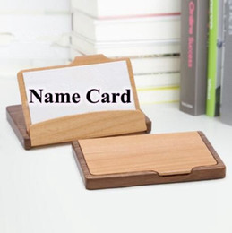 Wholesale Wooden Names Wholesale - 11*7cm Fashion Card Holder Unisex Wooden Business Name ID Credit Card Holder Case Wood Card Storage Box Home Office Supplies CCA6869 50pcs