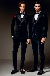Wholesale Double Bows Satin - Winter Black Velvet Formal Men Suits Two Styles Groom Groomsmen Tuxedos Peak Lapel Wedding Morning Suits (Jacket+Pants+Vest+Bow)