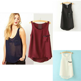 Wholesale Sheer Chiffon Blouse Wholesale - Women's Clothing 2018 summer basic tank tops style for women stringer Tees Tanks Camis womens tank top shirts Chiffon sleeveless blouses