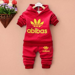 Wholesale Girls Purple Tracksuit - 2017 New Long Sleeves Spring Baby Sets Round Neckline Printing Outwear+Pants 2pc Boys Girls Tracksuits Hot sell kids suits