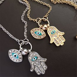 Wholesale hamsa eye necklace - Blue Evil Eye Hamsa Fatima Palm Necklace lucky Turkish Kabbalah hand pendants for women best friend best friend fashion jewelry
