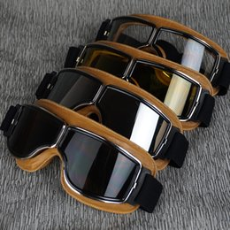 Wholesale Motorcycle Vintage Cruiser Helmet - VCOROS Sports Vintage Aviator Pilot Motorcycle Cruiser Scooter Goggles Silver Lens Yellow leather Padding for harley helmet