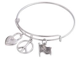 Wholesale Various Design - 5PCS of Silver Tone Expandable Wire Bangles Peace Charm Bracelets various designs for sale