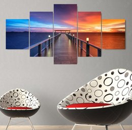 Wholesale Rainbow Spray Paint - 5 Piece Modern (No Frame) Rainbow Bridge Cuadros Decoracion Canvas Oil Painting Art Wall Pictures For Living Room Painting