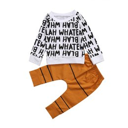 Wholesale Top Selling Baby Clothes - Hot Selling Baby Boys Cool Kids Toddler Cotton Casual Sets Letter Printing T-shirt Tops Long Striped Pants Outfits Set Clothes