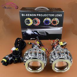 Wholesale halo headlight kits - Car Styling Double Dual LED COB Angel Eyes Halo 2.8'' HID Bi xenon Lens Projector Headlight Lenses Kit Daytime Running Lights