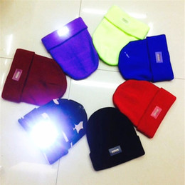 Wholesale Red Led Grill Lights - Wholesale LED Glowing Winter Beanies with Flash Light Skull Caps Novelty Led Hat for Hunting Camping Grilling 11 Colors Free Shipping B0782