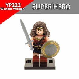 Wholesale Wonder Woman Figure - Single Sale Wonder Woman Marvel DC Super Heroes Figure Spiderman Deadpool Joker Iron Man Building Blocks Toys For Children