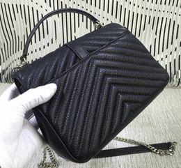 Wholesale Classic Design Handbag - Classic Women Falp Bag V Style Design Chain Shoulder Bag Medium Fashion Handbags Original Goatskin Leather Free Shipping