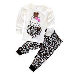 Wholesale Girls Leopard Hoody - Girls Autumn Cotton Clothing Set Long Sleeve hoody Pants two pieces Kitty cat cartoon leopard casual Size for 2,3,4,5,6,7 years
