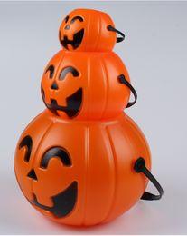 Wholesale Halloween Pumpkin Bucket - Wholesale Halloween Pumpkin Lantern Pumpkin Bucket Tank Plastic Halloween Pumpkin Buckets Halloween Pumpkin Lights Free Shipping