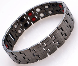 Wholesale Wholesale Magnetic Health Jewelry - 2015 fashion jewelry pure Titanium health care magnetic therapy bracelet black plated men's health energy bracelet 4 in 1 bio