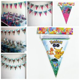 Wholesale Happy Birthday Flags - Banner Trolls Moana Poke Theme Flag Party Decorations Baby Happy Birthday Wedding Event Party Supplies for Kids CCA6952 50lot