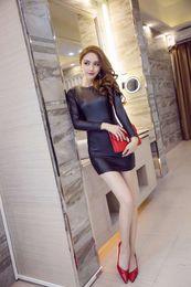 Wholesale Girls Sexy Night Dress - 2017 New Fashion Women Lady Girl PU Leather Dress Black Sexy Bodycon Party Club Mini Dress Vestidos