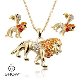 Wholesale Wholesale Lion Necklaces - Enamel Lion Necklace Earrings Jewelry Sets Pendants for Women Silver plated Enamel Jewelry Gift Drop Shipping