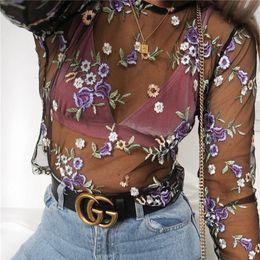Wholesale Long Sleeves Transparent Tops - Women Fashion Transparent Crop Tops Long Sleeve Purple Embroidery Floral T-shirt Pullover Short Tops Ladies Streetwear