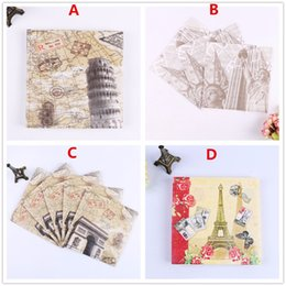 Wholesale Napkin Paper Party - Wholesale- Free Shipping 20pcs Lot 2-Layer Newest Printed Napkins Festival Decoupage Wedding Party Table Decoration Paper Tissue Napkins